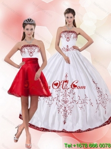 Pretty and Designer Strapless 2015 Perfect Quinceanera Dress with Embroidery
