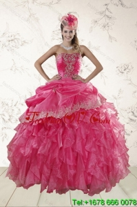 Beautiful Ruffles and Appliques Detachable Quinceanera Skirts in Hot Pink
