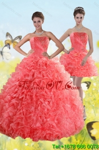 Designer Watermelon Strapless 2015 Quince Dresses with Beading and Ruffles