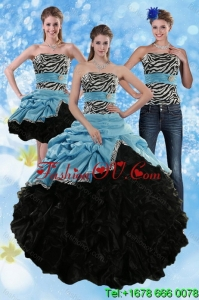 Designer Zebra Print Strapless Multi Color Sweet 15 Dresses with Ruffles and Pick Ups