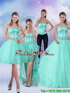 Pretty Apple Green Sweetheart 2015 Detachable Quinceanera Skirts with Appliques and Beading