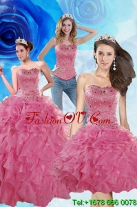 2015 Brand New Coral Red Detachable Quinceanera Skirts with Beading and Ruffles