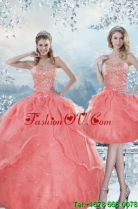 2015 New Style Beading Detachable Quinceanera Skirts in Watermelon