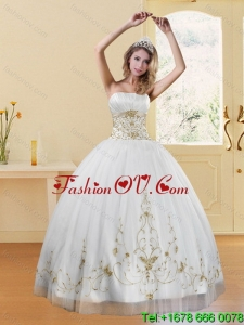 2015 New Style Strapless Embroidery White and Gold Detachable Quinceanera Skirts