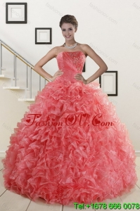 2015 Popular Watermelon Red Detachable Quinceanera Skirts with Beading and Ruffles