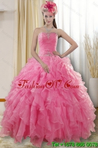 2015 Pretty Rose Pink Detachable Quinceanera Skirts with Ruffles and Beading