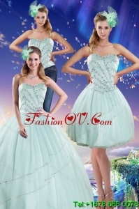 Apple Green Strapless 2015 Detachable Quinceanera Skirts with Beading