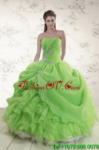 Brand New Spring Green Detachable Quinceanera Skirts with Ruffles and Beading