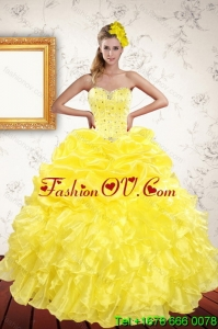 Classical 2015 Yellow Detachable Quinceanera Skirts with Beading and Ruffles