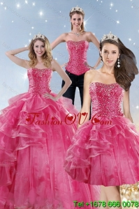 Wonderful Pink Detachable Quinceanera Skirts with Beading and Ruffles for 2015