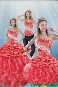 2015 Gorgeous Watermelon Red Detachable Quinceanera Skirts with Appliques and Ruffles