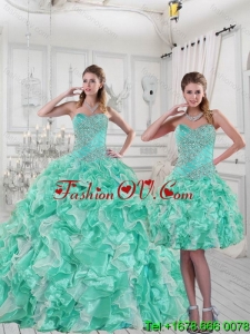 2015 Pretty Sweetheart Detachable Quinceanera Skirts in Apple Green with Ruffles and Beading
