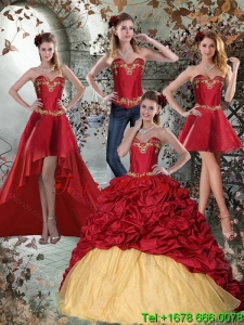 2015 Wine Red Sweetheart Detachable Quinceanera Skirts with Embroidery and Pick Ups