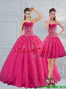 Lovely Sweetheart Hot Pink Quinceanera Dress with Appliques and Beading