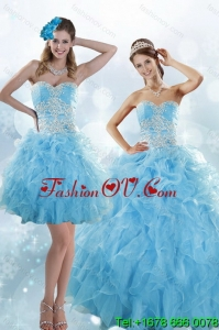 Sophisticated Appliques and Ruffles Baby Blue Detachable Quinceanera Skirts