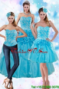 Sophisticated Teal Detachable Quinceanera Skirts with Embroidery and Pick Ups