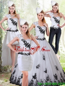 The Most Popular White and Black Sweetheart Detachable Quinceanera Skirts with Black Embroidery