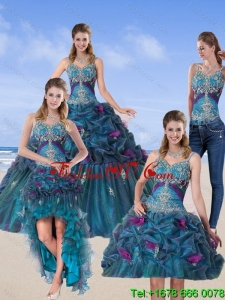 2015 Detachable and Lovely Multi Color Quinceanera Gown with Hand Made Flower and Pick Ups
