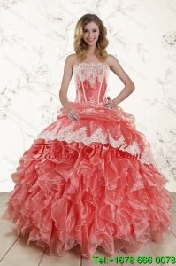 2015 Fashionable and Lovely Strapless Quinceanera Dresses in Watermelon