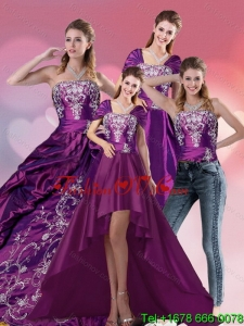 Lovely Embroidery Strapless Quinceanera Dress in Purple for 2015
