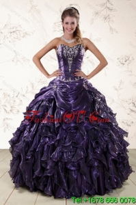 Lovely Purple Sweetheart Floor Length Quince Gowns Embroidery and Ruffles