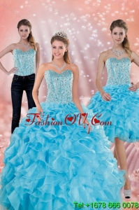 2015 Classical and Lovely Sweetheart Ruffled Quinceanera Dresses in Baby Blue