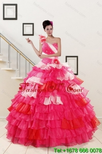 2015 Lovely Ruffled Layers and Beading Multi Color Quinceanera Dresses