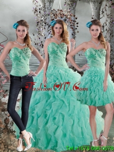 2015 New Style and Lovely Aqua Blue Quinceanera Dresses with Beading and Ruffles