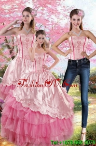 Lovely Pink Strapless 2015 Quinceanera Dresses with Embroidery and Ruffles