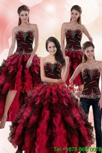 Wonderful and Lovely Multi Color Dresses for Quince with Ruffles and Beading
