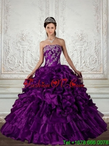New style Ball Gown Strapless Quinceanera Dress with Embroidery and Ruffles