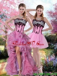 New style High Low Zebra Printed Prom Dress with Pick Ups and Appliques