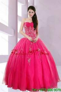 2015 Fshionable and Pretty Strapless Hot Pink Quince Dresses with Appliques