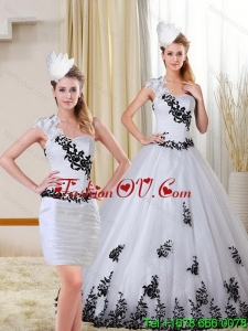 2015 New Style One Shoulder Sweetheart White and Black Quinceanera Dress with Appliques