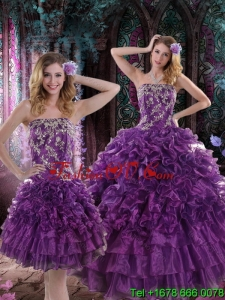 2015 Pretty Purple Dresses for Quince with Appliques and Ruffles