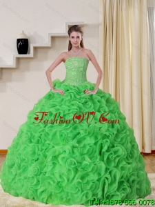 Cheap and Pretty Strapless Spring Green Quinceanera Dress with Beading and Ruffles