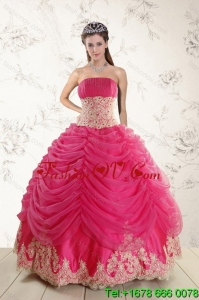 Fashionable and Pretty 2015 Strapless Hot Pink Quinceanera Dresses with Beading and Lace