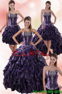 Luxurious and Pretty Sweetheart Ball Gown Purple Quince Dresses with Embroidery