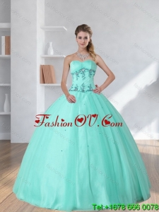 Perfect and Pretty Appliques and Beading Sweetheart 2015 Dress for Quince