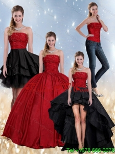 Pretty Beaded Strapless Ball Gown 2015 Quinceanera Dress in Red and Black