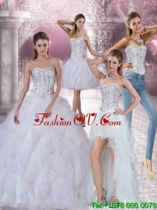 Pretty White Sweetheart 2015 Quinceanera Dress with Ruffles and Beading