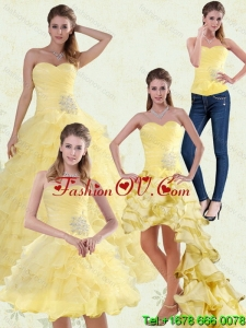 Pretty Yellow Beaded and Ruffled Sweetheart Quinceanera Dress for 2015