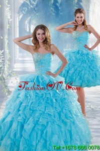 2015 Beautiful and Pretty Baby Blue Sweet 16 Dresses with Beading and Ruffles