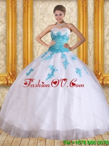 2015 Cute and Pretty Sweetheart Floor Length Quinceanera Dress in White and Blue
