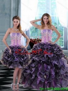 2015 Elegant and Pretty Appliques and Ruffles Quinceanera Dresses in Multi Color
