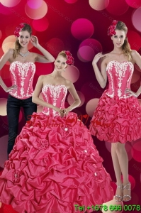 2015 Fashionable and Pretty Pick Ups and Appliques Hot Pink Quinceanera Dresses