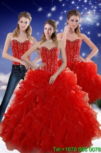 2015 Perfect and Pretty Red Sweetheart Quince Dresses with Beading and Ruffles