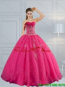 2015 Perfect and Pretty Sweetheart Hot Pink Quinceanera Dress with Appliques and Beading