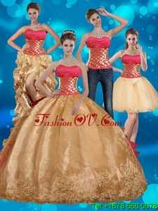 2015 Pretty Gold Strapless Quince Dress with Beading and Embroidery