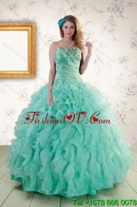 2015 Pretty Spring Strapless Quinceanera Dresses with Appliques and Ruffles